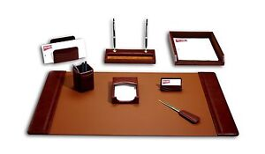 Dacasso Leather Desk Set 8 piece Mocha