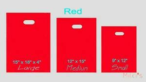 Red Glossy Low density Plastic Merchandise Bags Wholesale Lot Bags In 3 Sizes