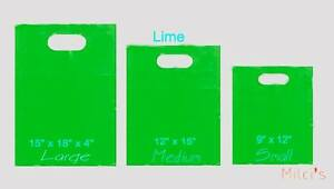 Lime Glossy Low density Plastic Merchandise Bags Wholesale Lot Bags In 3 Sizes