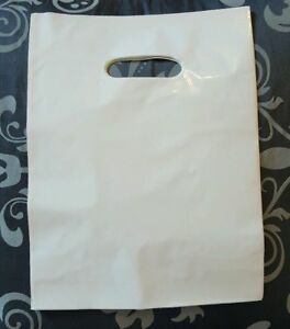White Glossy Low density Plastic Merchandise Bags Wholesale Lot Bags In 3 Sizes