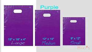 Purple Glossy Low density Plastic Merchandise Bags Wholesale Bags In 3 Sizes