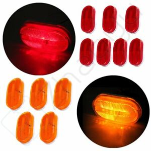 5 Amber 7 Red Oval 12v Dually Bed Side Marker Lights Lamp Trailer Camper Truck