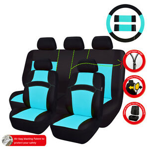 Car Pass Rainbow Breathable Universal Fit Car Seat Covers Water Blue Color
