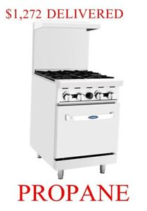 Propane Gas Lp Range Oven 24 Inch 2 Foot Wide Commercial Restaurant 4 Burners