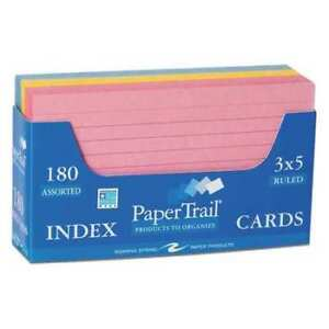 36pk Sets Trayed Index Cards 3 x5 180 Sht In 3 Colors