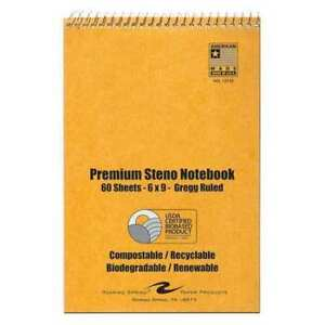 Roaring Spring 12130 Steno Notebook Biobased Paper white pk6 G7127928