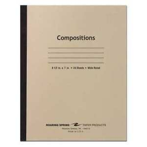 28pk8 Composition Books 24 Sht 8 5 x7 Flex Manila Wide Roaring Spring 77304
