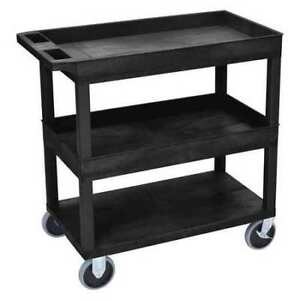 High Capacity 2 Tubs 1 Flat Shelf Cart Luxor Ec112hd b