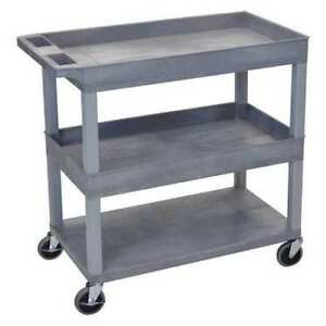 High Capacity 2 Tubs 1 Flat Shelf Cart Luxor Ec112 g