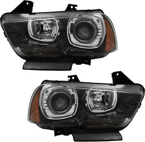 Hid Headlights Headlight Assembly W Bulb New Pair Set For 11 14 Dodge Charger