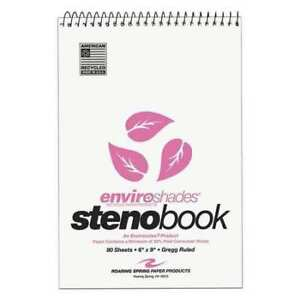 24pk Steno Books 6 x9 80 Sht Recycled Pink Ppr Gregg Rd Roaring Spring 12254