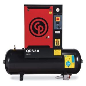 Rotary Screw Air Comp 3 Hp tank 60 Gal Chicago Pneumatic Qrs 3 0 Hp Tm