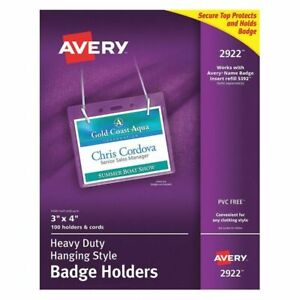 Avery 2922 Necklace Badge Holder 100 clear pk100
