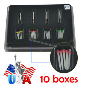 10x Dentist Dental High intensity Quartz Straight Pile Fiber Resin Post 4 Drills