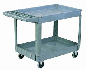 Heavy duty Plastic Utility Cart Two 3 Deep Shelves And Two 5 Caster Wheels