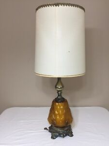 Vintage Mid Century Lamp Amber Glass Base Double Lighting Bronze Finish