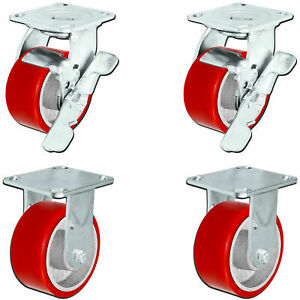 5 X 2 Swivel Rigid Caster Set Heavy Duty Red Polyurethane Wheel On Steel Hub