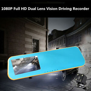 4 3 Hd Video Dual Lens Dvr Led Camera Rearview Mirror Car 1080p Driving Recorder