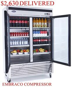 Double two 2 Glass Doors Commercial Store Refrigerator Cooler Merchandiser Nsf