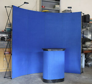8 Ft Big Wave Fabric Pop Up Display Podium Lights Trade Show Exhibit