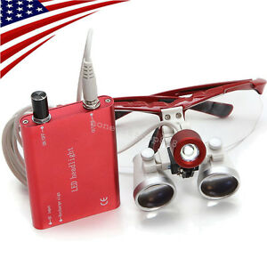 Red Dental Surgical Binocular Loupes 3 5x420mm Optical Glass Led Head Light Lamp