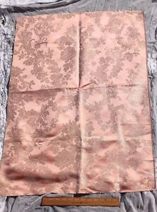 Antique C1860 1870 French Silk Pink Floral Frame Damask Sample Fabric