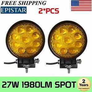 2pcs Amber 5 Inch 27w Round Spot Led Work Light 5d Lens Off Road Fog 4wd Bumper