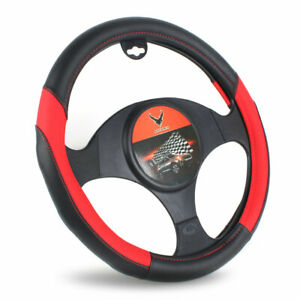 15 Universal Car Steering Wheel Cover Red Pu Leather Non Slip Breathable Cover