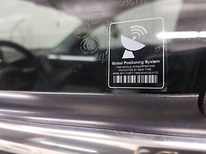 Mini Warning Sticker Gps Anti Theft Tracking Device Printed Clear White Decal