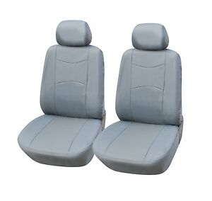 A159 Grey Leather Like 2 Front Bucket Car Seat Cover Compatible To Toyota Tacoma