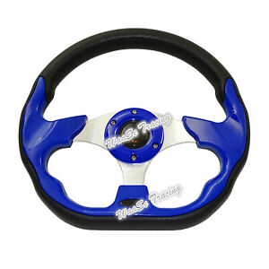Universal 320mm Pvc Leather Racing Car Steering Wheel W Horn Button Blue 520