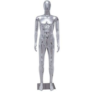 Male Body Mannequin Glossy Silver Egg Head Full Dress Form Display W steel Base