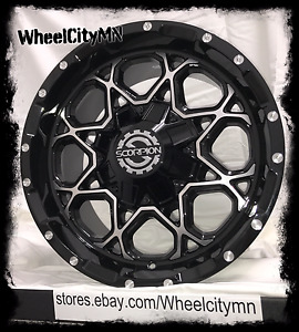 17 Inch Black Scorpion Sc10 Wheels Silverado Sierra 6x5 5 Ford F150 6x135 12