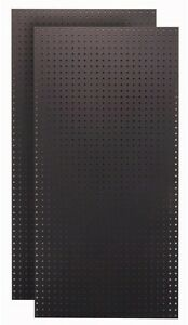 Pegboard Wall Organizer 1 4 In Tempered Wood Storage Hardboard Black set Of 2