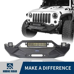 Textured Black Front Bumper W led Light Bar For 07 18 Jeep Wrangler Jk Unlimited