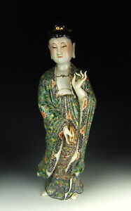 China Antiques Famille Rose Porcelain Kuanyin Buddha Statue