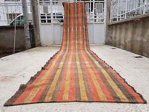 18 Foot Long Handwoven Faded Color Cotton Stair Hall Turkish Kilim Wide Runner