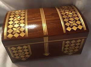 Gold Straw Brown Work Inlay Box Hinged