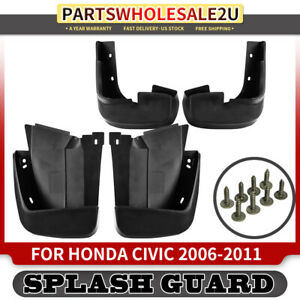 4x Splash Guards Mud Flaps For Honda Civic Ex Lx 2006 2009 2010 2011 Front Rear