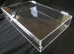 Acrylic Rectangular Countertop Display Case Lock Box 16 X 10 X 3 Box Display