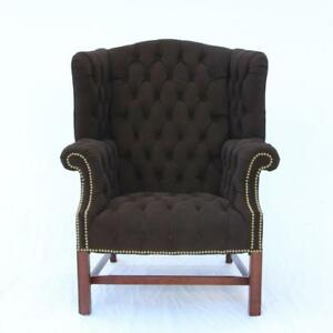 A Vintage Leather Tufted Wingback Chair By Drexel Black Suede English Gentleman