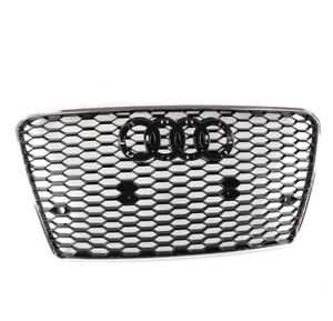 Front Rs7 Style Mesh Hex Grille Black Chrome Trim For 2012 2015 Audi A7 S7 C7