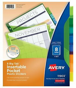 Avery Big Tab Insert Able Plastic Dividers With Pockets 8 Multi Color Pack Of 24