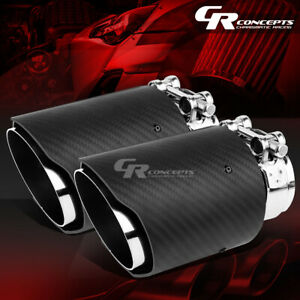 Dual Stainless 3 5 Carbon Fiber Muffler Tip Clamp For 2 5 Exhaust Catback Pipe