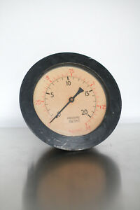 Large Brass Tomey Birmingham Pressure Gauge 20 Psi 1 5 Bar Industrial Steampunk