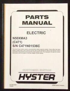 Hyster Electric N50xma3 Forklift Parts Manual Unit Code c471
