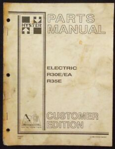 Hyster Electric R30e ea R35e Forklift Parts Manual