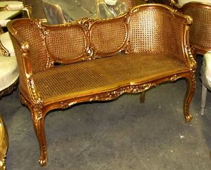 Ornate French Louis Xv Caned Cane Corbeille Settee Canap