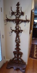 Victorian Antique Cast Iron Hall Tree Stand