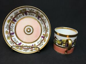 Antique Old Paris Cup And Saucer Peach White Gold Fruit Grapes People C 1840